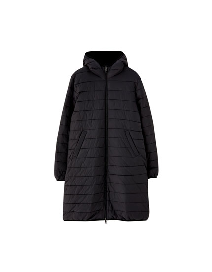 Puffer coat with faux fur lining