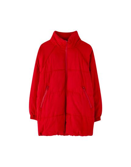 Quilted raglan sleeve coat