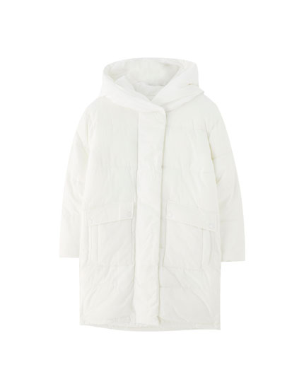Puffer coat with wraparound collar