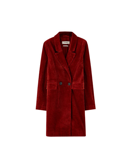 Double-breasted corduroy coat
