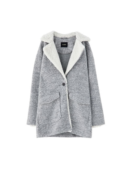 Coat with faux shearling lapels
