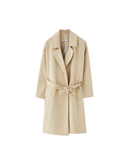 Long woolly coat with belt