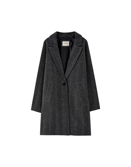 Herringbone coat with single-button fastening