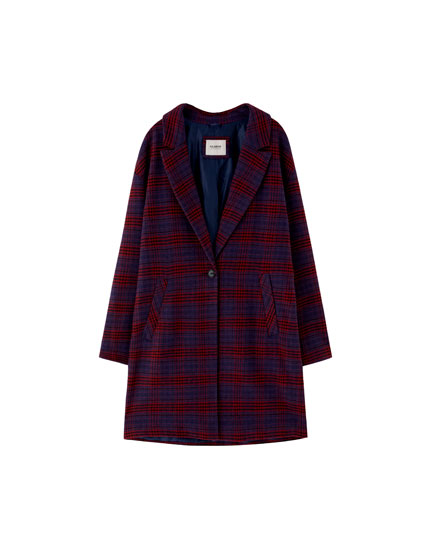Checked coat with button fastening