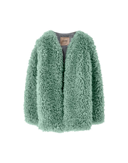 Curly faux fur coat