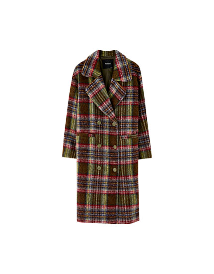 Woolly fabric coat with check print