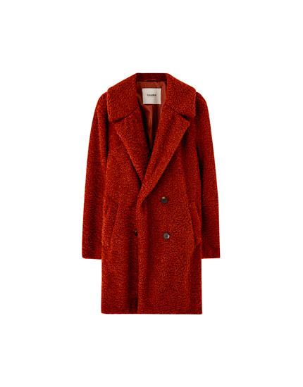 Long faux curly fur coat