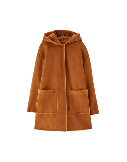 Hooded double-sided coat
