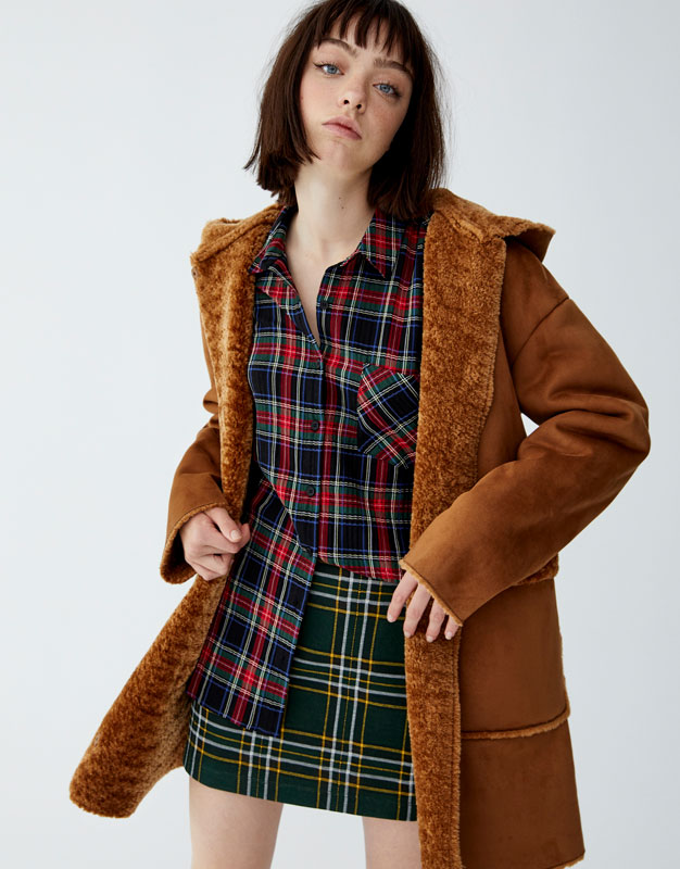 Hooded Double Sided Coat by Pull & Bear
