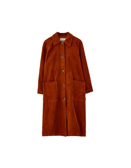 Abrigo largo de pana