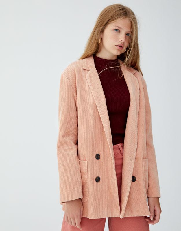Двубортный пиджак из вельвета by Pull & Bear