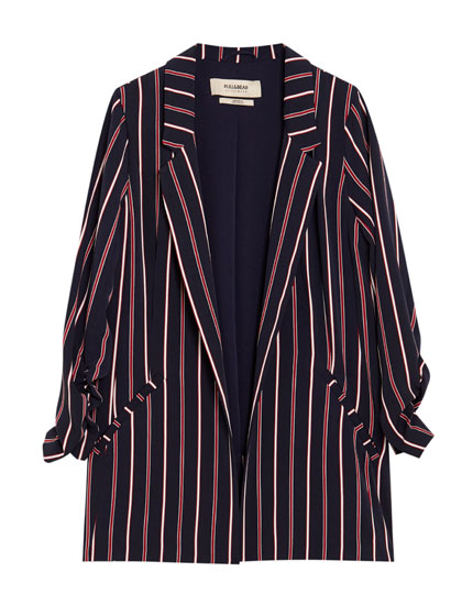 Striped blazer with gathered sleeves