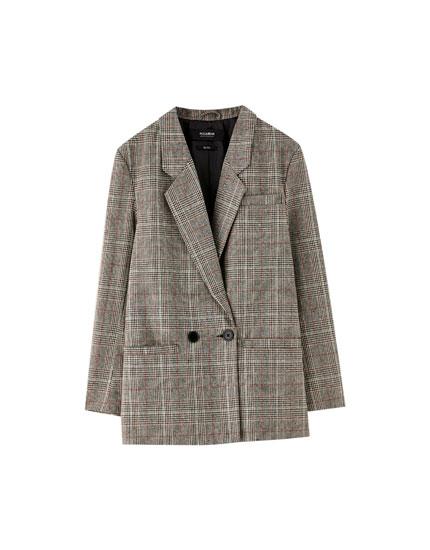Buttoned check blazer