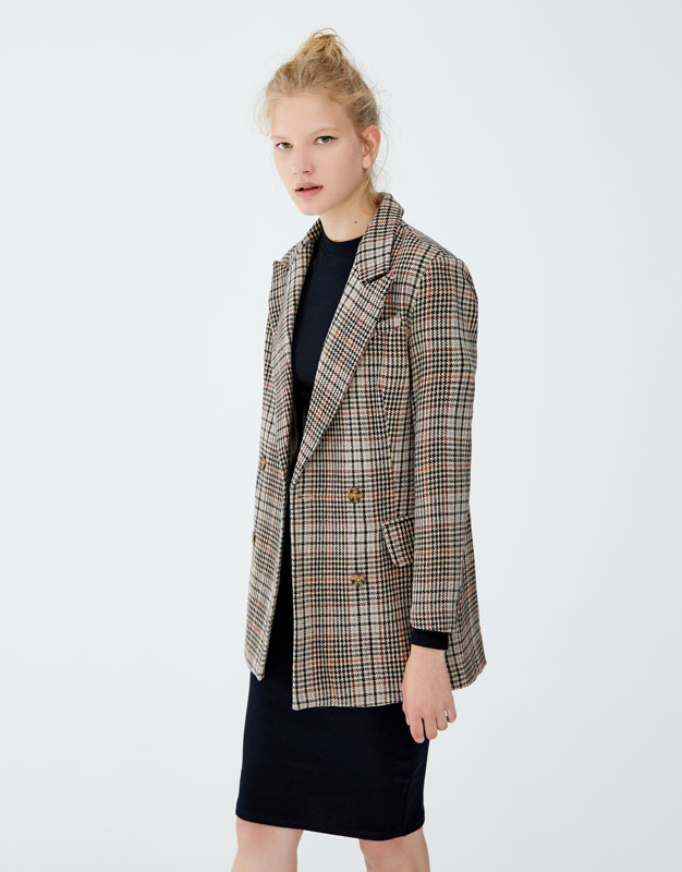 Double Breasted Check Blazer by Pull & Bear