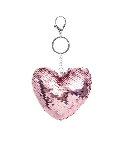 Sequinned heart key ring