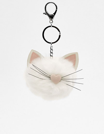 Plush cat keyring