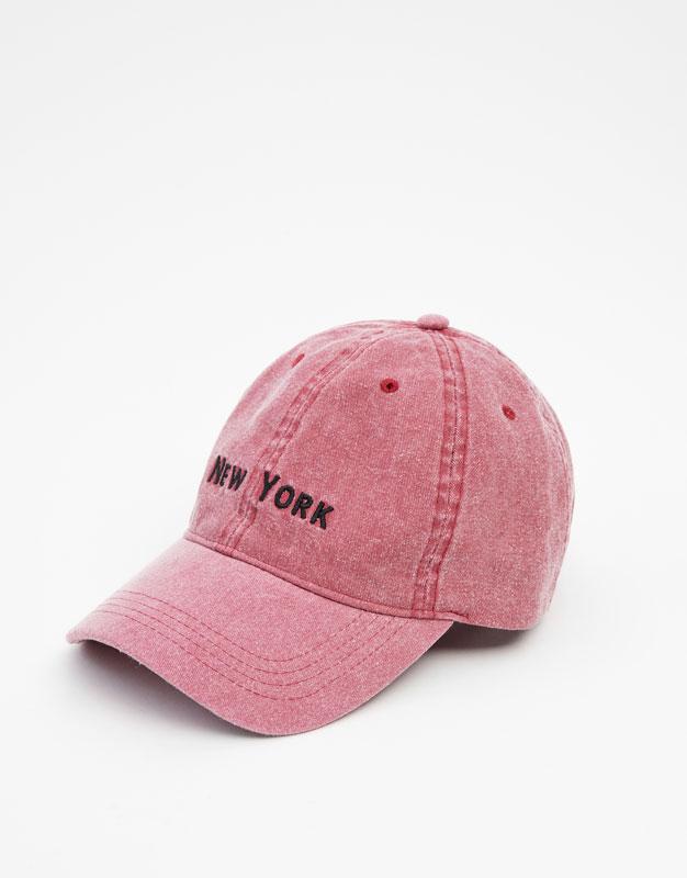Холщовая кепка с надписью New York by Pull & Bear