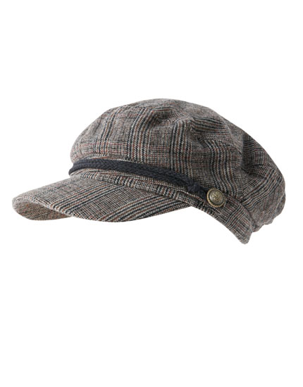 Checked nautical cap
