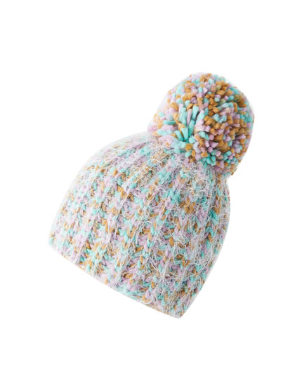 Multicoloured pompom hat