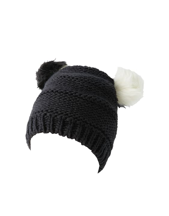 7da0cfcc7e1 Hat with 2 black and white pompoms - pull bear
