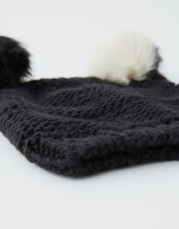 d35050a915c Hat with 2 black and white pompoms - PULL BEAR