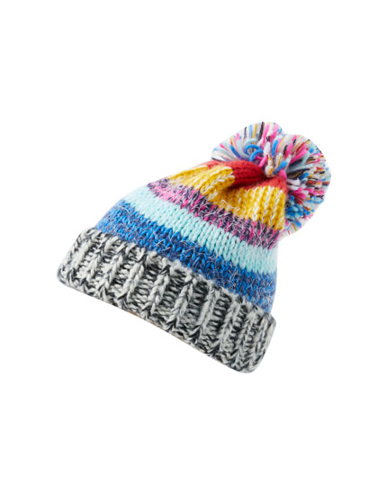 Multicoloured flecked hat with pompom
