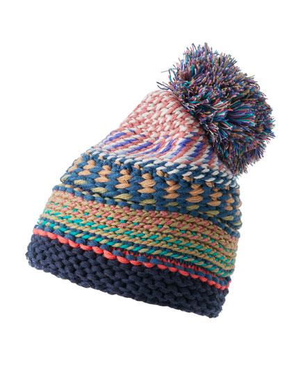 Multicoloured pompom hat