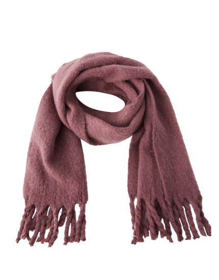 Faux mohair scarf with fringing