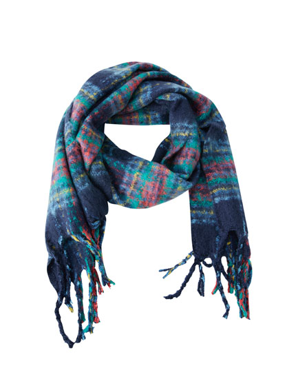Multicoloured tartan scarf