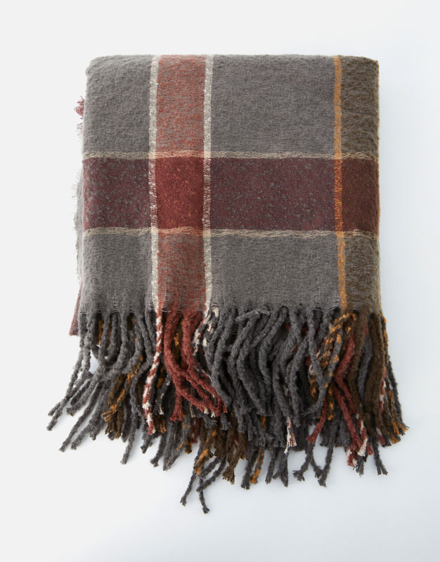 Two Tone Checked Scarf by Pull & Bear