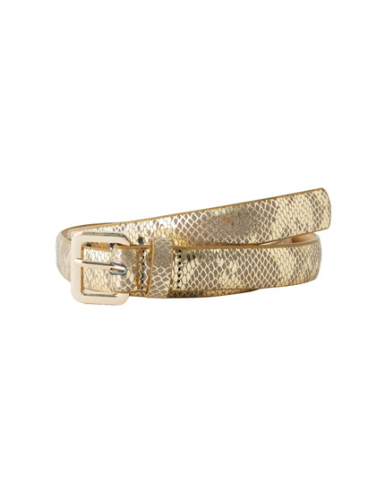 Golden faux snakeskin belt