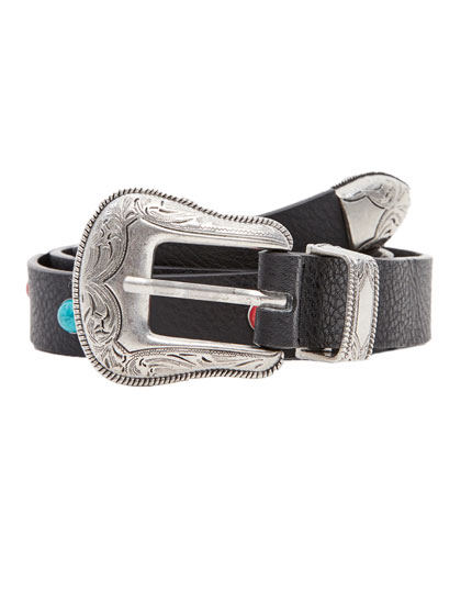 Belt with metallic buckle and end tip
