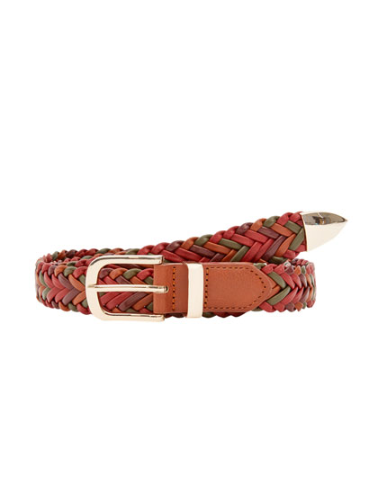 Multicoloured plaited belt