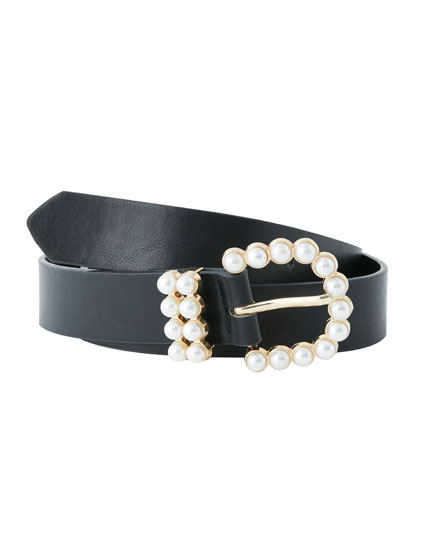 Belt with buckle and faux pearls