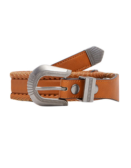 Cowboy-style belt with braiding