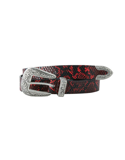 Coloured faux snakeskin belt