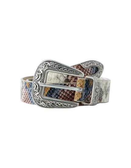 Coloured faux snakeskin belt