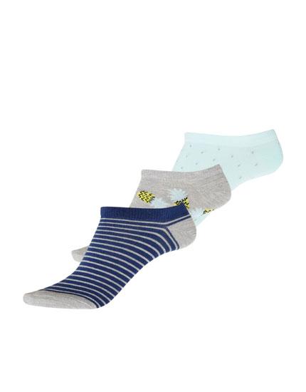 3er-Pack Sneakersocken mit Ananas