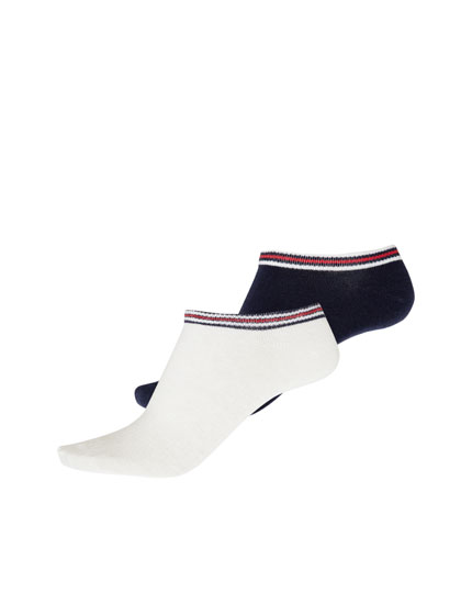 2-pack of striped ankle socks