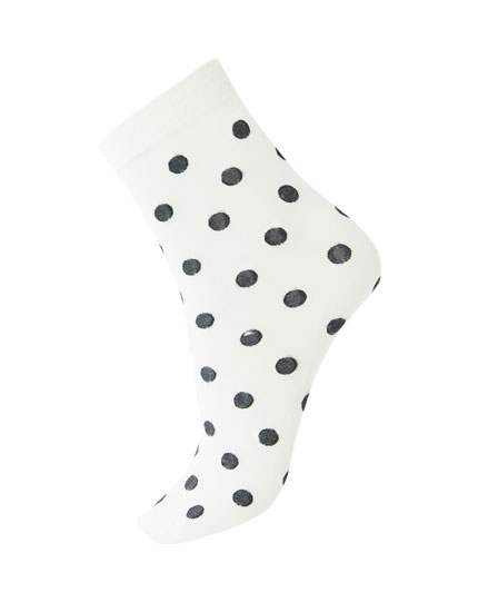 White polka dot socks