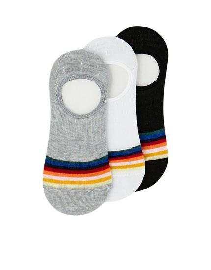 Pack 3 calcetines tobilleros arcoíris