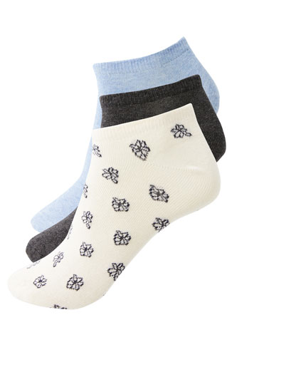 Pack of 3 printed ankle socks