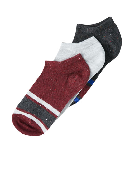 3-pack of ankle socks with trim