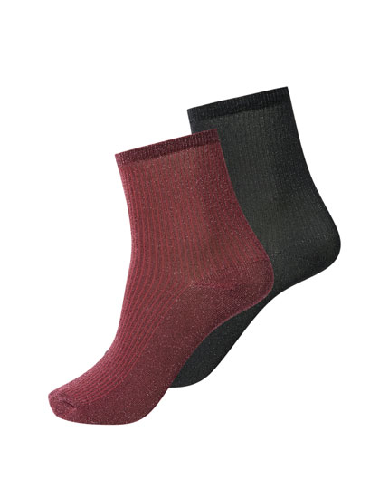 Burgundy and black shimmery socks
