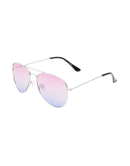 Two-tone aviator sunglasses