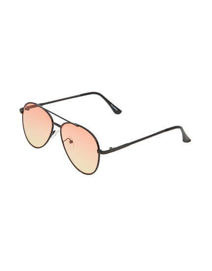 Aviator sunglasses with orange lenses