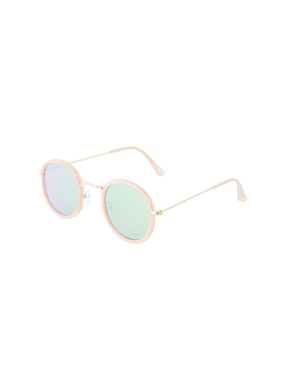 Pink round resin sunglasses