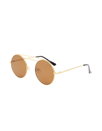 Double bridge round sunglasses