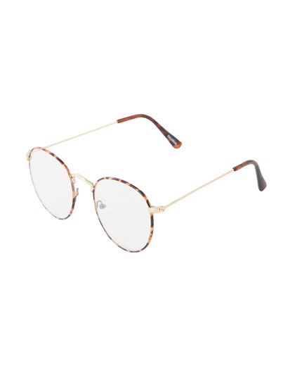 Transparent glasses with tortoiseshell frame