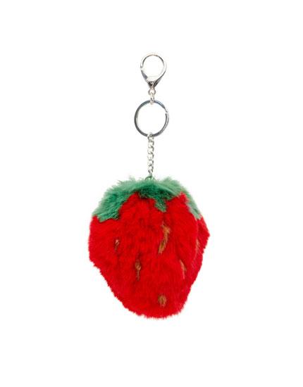 Plush strawberry keyring
